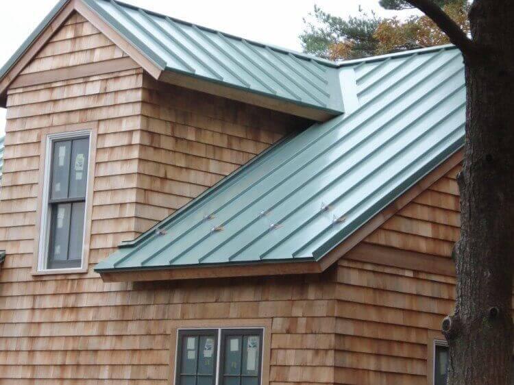 green standing metal roof