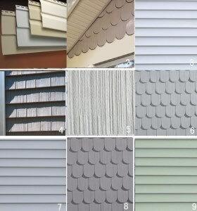 collage of vinyl siding types