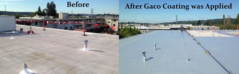 building roof coated with Gaco Silicone product