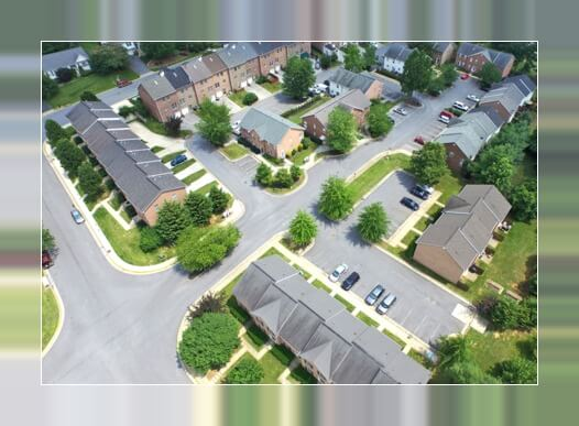 aerial view of an apartment complex in arlington heights il