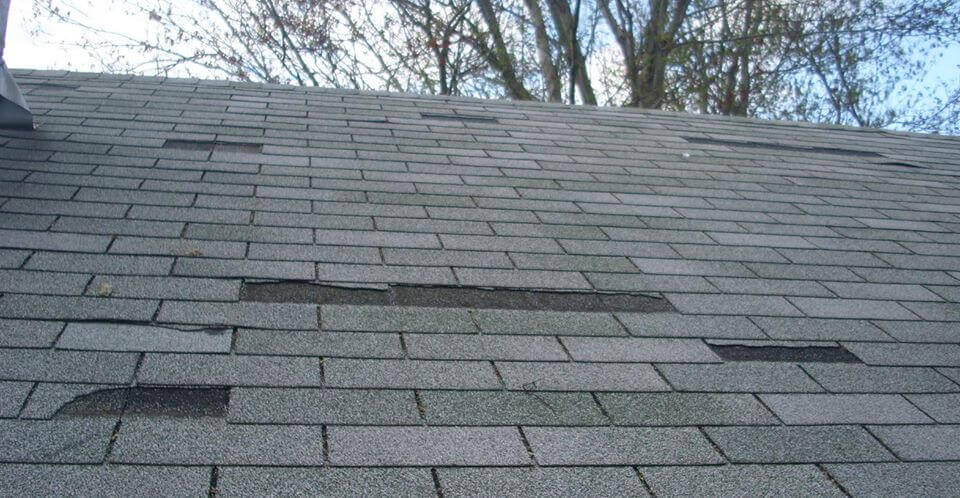 missing shingle from wind