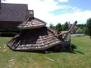 storm damage roof and gazebo