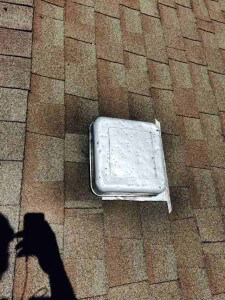 roof vent dinged up by Crystal Lake hail storm