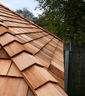 Picture of cedar roof by trees
