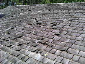 Section of bad wood shingles