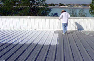 contractor applying elastomeric coating